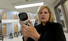 Santa Clara County Sheriff Laurie Smith is photographed holding a security camera that is being installed in module 4A in the Santa Clara County Main Jail in San Jose, Calif., on Wednesday, March 2, 2016. Smith purchased security cameras herself at Costco to install in the wake of incidents involving inmates and guards at the jail. Installation has just begun by county facilities workers. The cameras were purchased after the county learned its plan to buy cameras through normal channel could drag on for 2 years. (Dan Honda/Bay Area News Group)